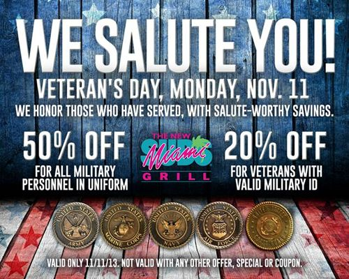 This Veterans Day The New Miami Subs Grill Appreciates The Men and Women Who Have Served Our Country