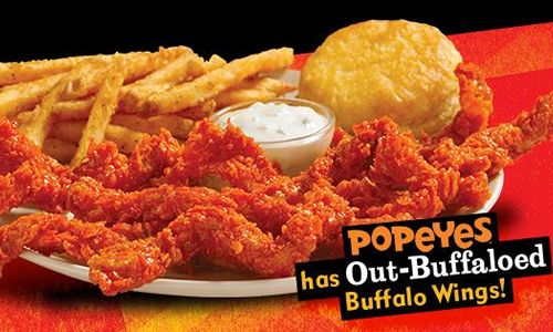 "Taste How Popeyes New Bayou Buffalo Wicked Chicken ""Out Buffaloes"" Buffalo Wings"