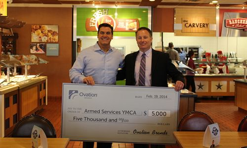 HomeTown Buffet Presents Donation to the San Diego Branch of the Armed Services YMCA