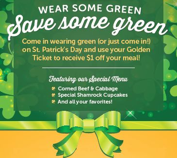 Dine at Ryan's, HomeTown Buffet and Old Country Buffet and Get Lucky with a Special Offer on St. Patrick's Day, March 17