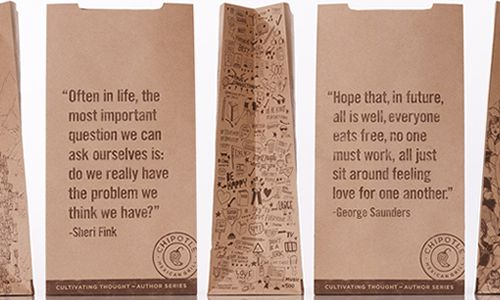 "Chipotle Launches ""Cultivating Thought"" Author Series on Cups and Bags"
