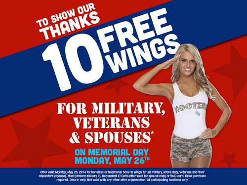 Hooters Pays Tribute to Military, Spouses and Veterans with Free Wings on Memorial Day