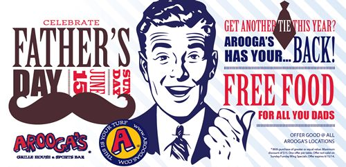 Dads Eat Free at Arooga's Grille House & Sports Bar on Father's Day, Sunday June 15