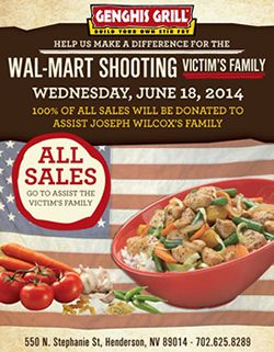 Genghis Grill to Donate All Profits on Wednesday, June 18, to Assist Family of Walmart Shooting Victim