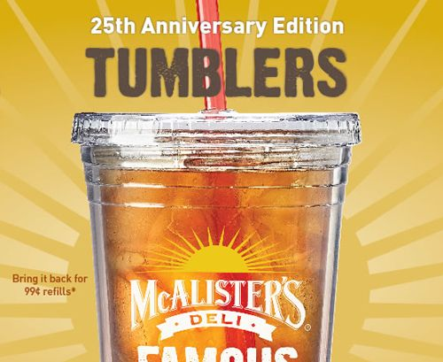 McAlister's Deli Brings Back Popular Tumblers and Hosts Sweepstakes to Celebrate 25 Years of Genuine Hospitality