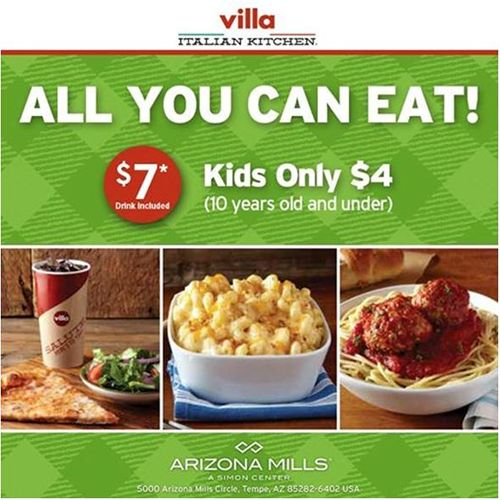all you can eat tuesdays at villa italian kitchen arizona mills - Villa Italian Kitchen