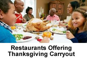 Restaurants Offering Thanksgiving Meals for Carryout