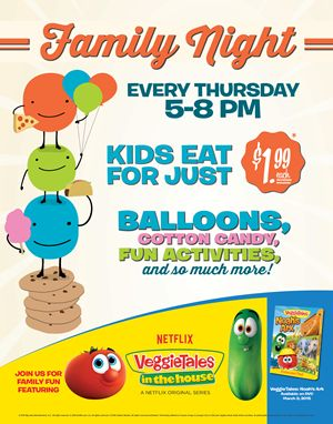 Ryan's, HomeTown Buffet and Old Country Buffet Offer Fresh Servings of VeggieTales for Family Night