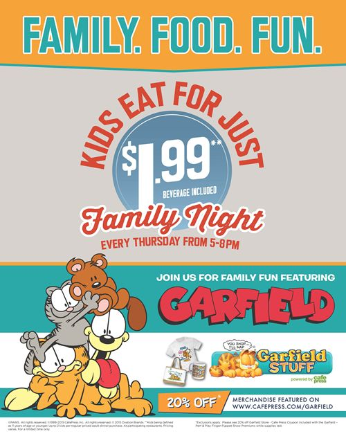 Garfield & Friends Are Coming to Eat and Play at Ryan's, HomeTown Buffet and Old Country Buffet
