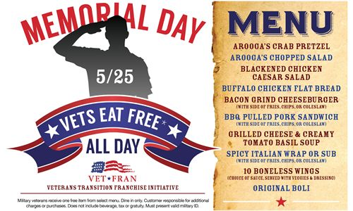 Vets and Troops Eat Free on Monday, May 25 as Arooga's Honors Memorial Day