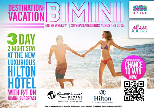 Enter to Win a Great Vacation Getaway Courtesy of The New Miami Subs Grill and Miami Grill Restaurants & Resorts World Bimini