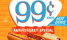 Wienerschnitzel Celebrates Anniversary by Sharing Some Wiener Love with 99 Cent Hot Dogs