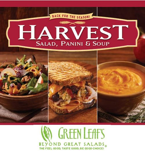 Green Leaf's Restaurants Popular Harvest Panini Sandwich and Harvest Salad Are Back Along with a New Harvest Soup