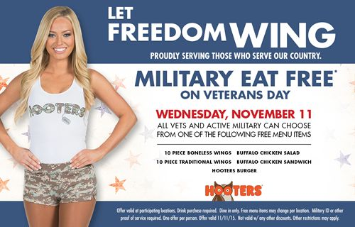 Hooters Serves a Free Meal to Those Who Serve this Veterans Day