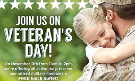 Ovation Brands to Honor Active and Retired Military with Free Lunch on Veterans Day
