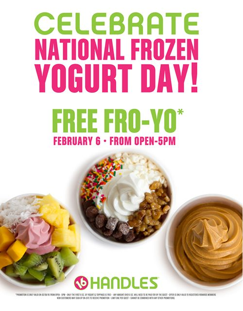 16 Handles Celebrates National Frozen Yogurt Day with FREE FROYO!