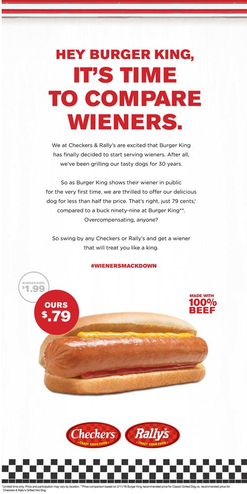 Checkers & Rally's Ignites Wiener War with Full Page Ad in USA Today