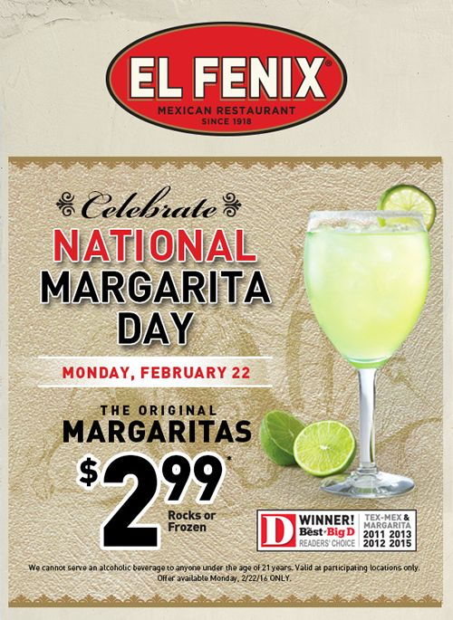 El Fenix Toasts National Margarita Day with Delicious Deal
