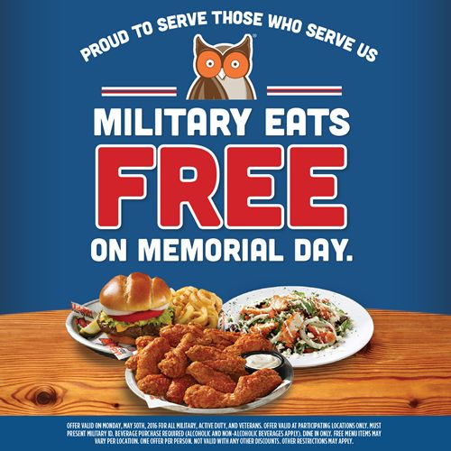 Military Eat Free at Hooters on Memorial Day