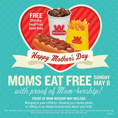 Moms Eat Free at Wienerschnitzel on Mother's Day