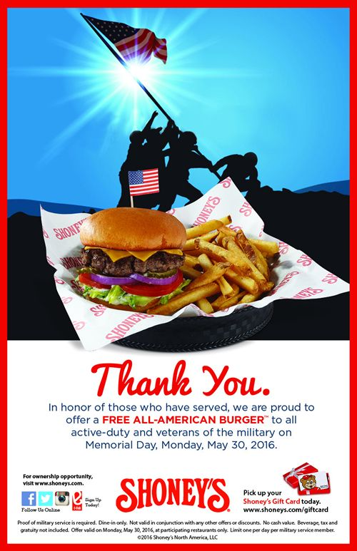 Shoney's Offers Free All-American Burger to All Veterans and Troops on Memorial Day
