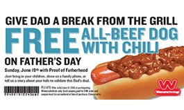 Dads Eat FREE at Wienerschnitzel this Father's Day