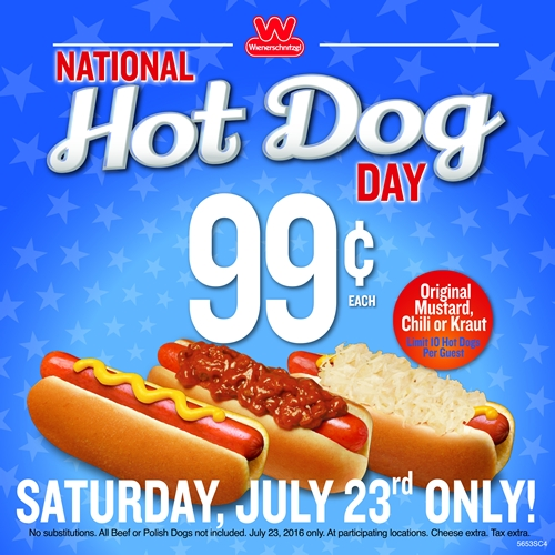 Wienerschnitzel Celebrates National Hot Dog Day With 99 Cent Hot Dogs On July 23