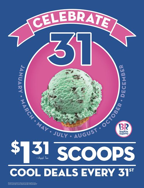 Baskin-Robbins Invites Guests to Beat the Heat and Enjoy $1.31 Ice Cream Scoops on Wednesday, August 31