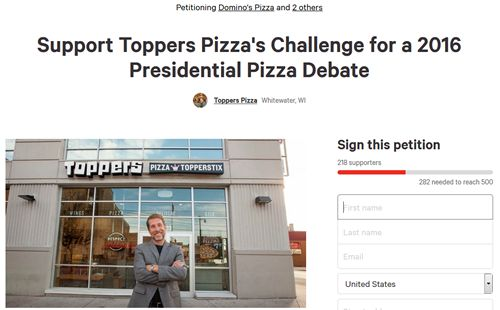 """Corporate Pizza Chains Remain Silent on Toppers Pizza's Challenge for """"Presidential Pizza Debate"""""""