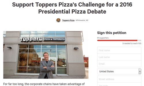 "Toppers Pizza Challenges Corporate Pizza Chains to ""Presidential Pizza Debate"""