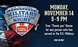 Golden Corral Restaurants Salute America's Heroes with 16th Annual Free Dinner on Military Appreciation Night