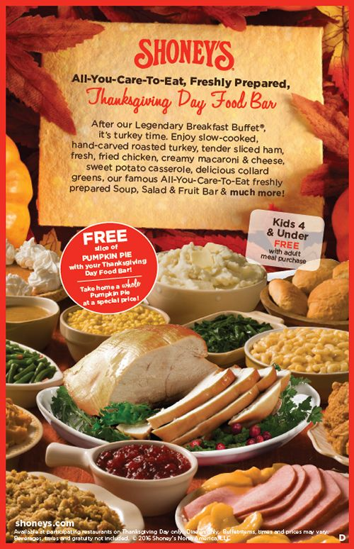 Shoney's Doors Are Wide Open on Thanksgiving Day with An All-You-Care-to-Eat Food Bar