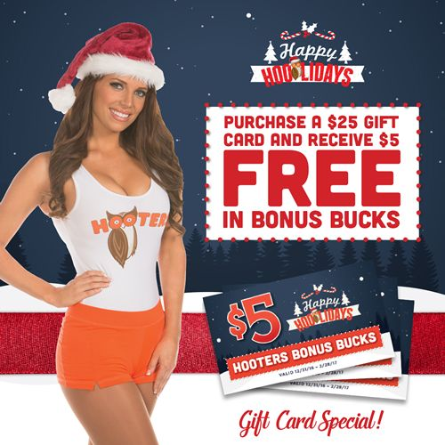 Give the Gift of Hooters with Holiday Bonus Offers