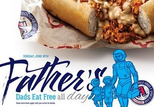 Dads Eat Free at Arooga's Grille House & Sports Bar on Father's Day, Sunday June 18