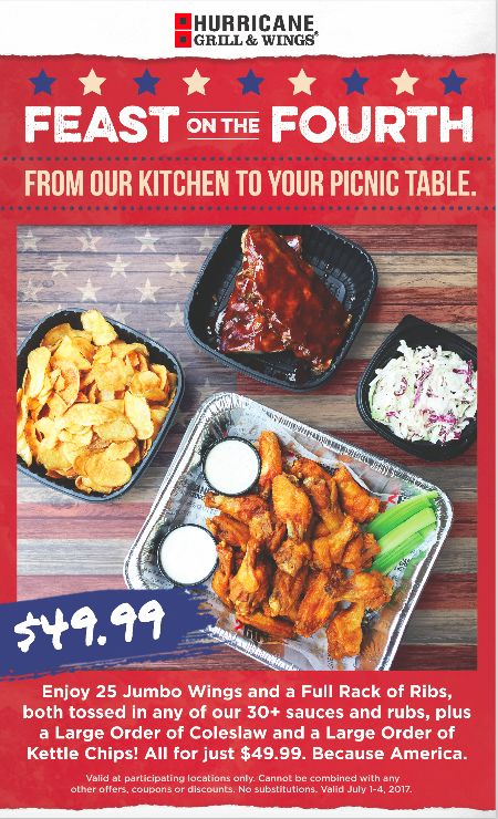 Hurricane Grill Wings Invites Guests to Celebrate July 4th with Special Deal - Hurricane Wings Palm Beach Gardens Menu