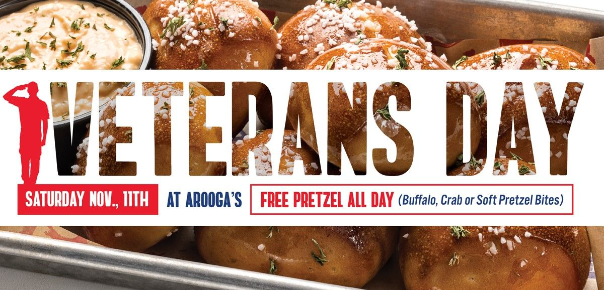 Arooga's To Thank Veterans and Troops with FREE Pretzel Deal on Veterans Day