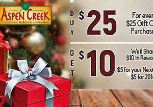 Aspen Creek Grill – Generosity Has Reached New Heights and Giving Has Never Tasted So Good! For Every $25 in Gift Card Purchases We Will Share $10 in Rewards!
