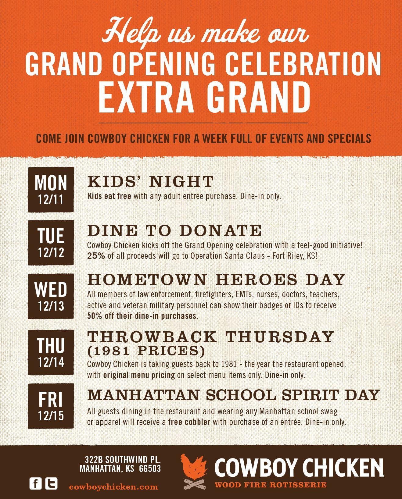 Cowboy Chicken in Manhattan Hosts Weeklong Grand Opening Celebration Dec. 11-15