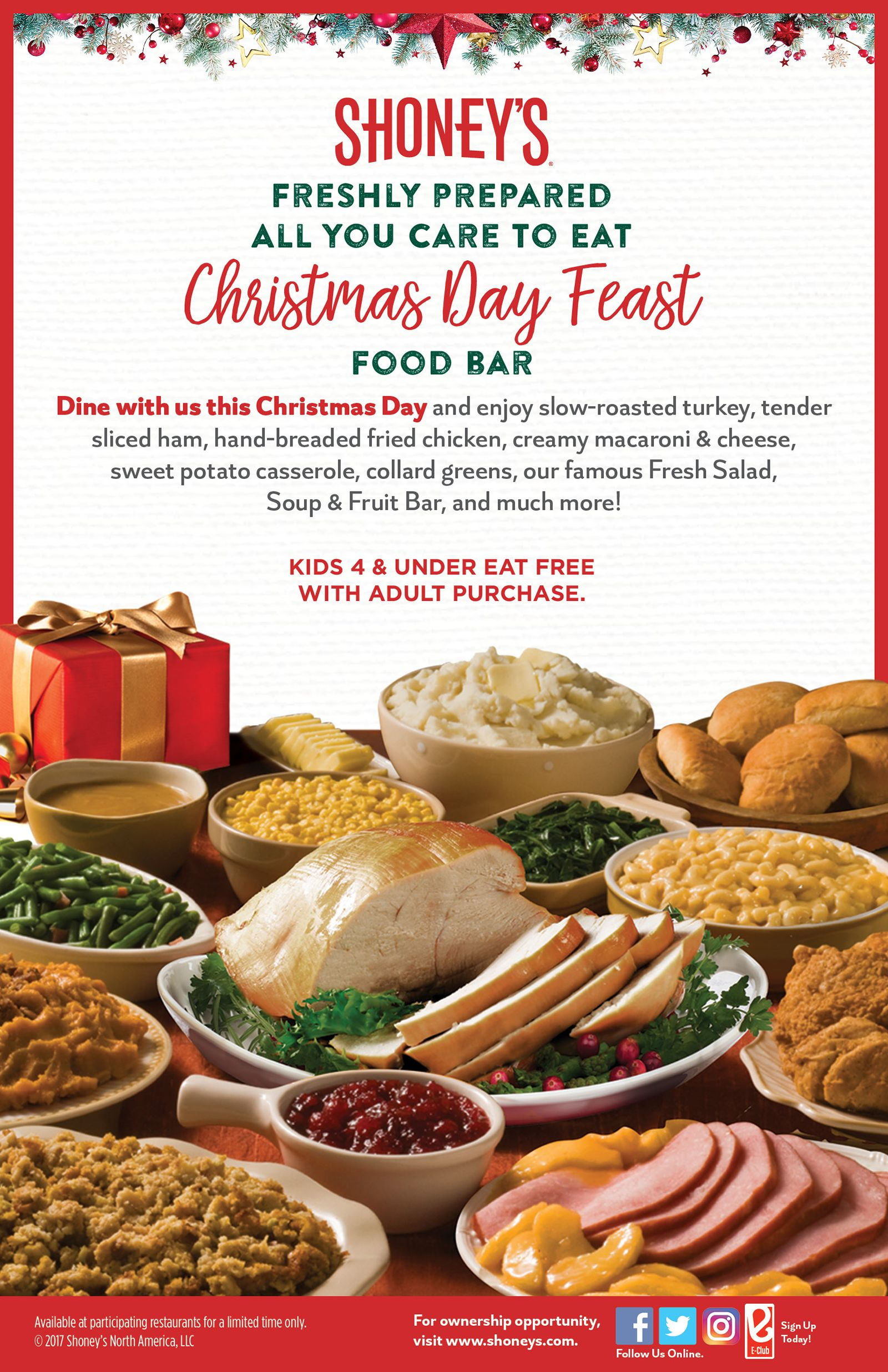 Shoneys Christmas Day Feast Starts At 1299 Kids 4 And Under Eat