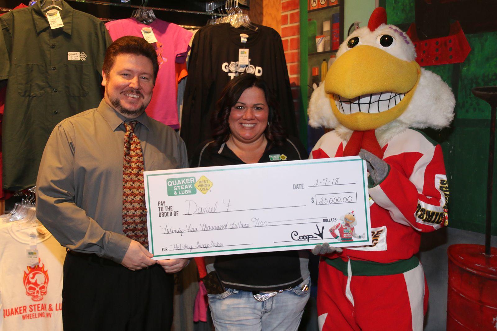 Quaker Steak & Lube Rewards $25,000 Grand Prize