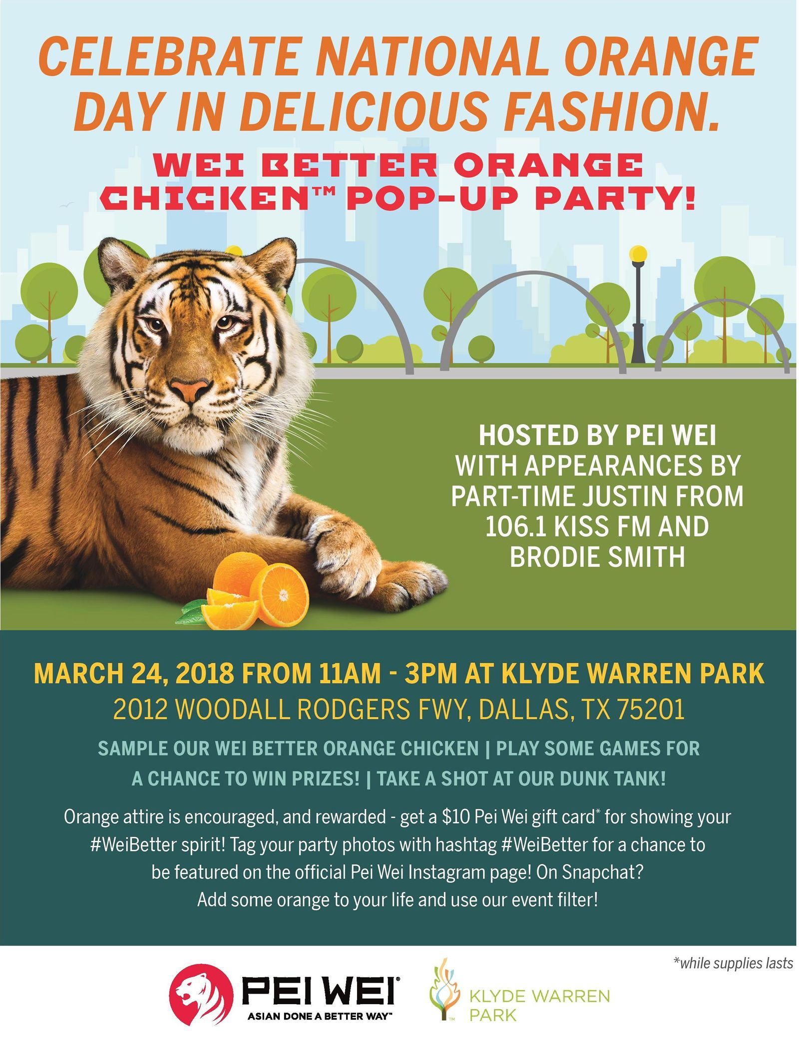 Orange Out During Pei Wei's Wei Better Orange Chicken Pop-up Party At Klyde Warren Park