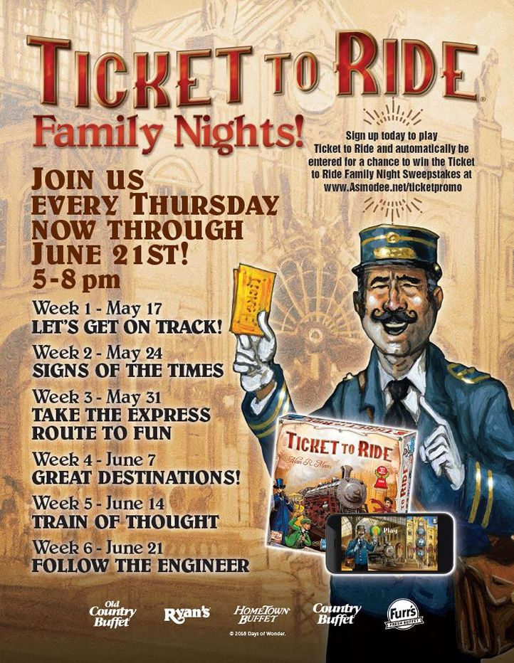 "Ovation Brands And Furr's Fresh Buffet Have The ""Ticket To Ride"" With Newest Family Night Promotion, Starting May 17"