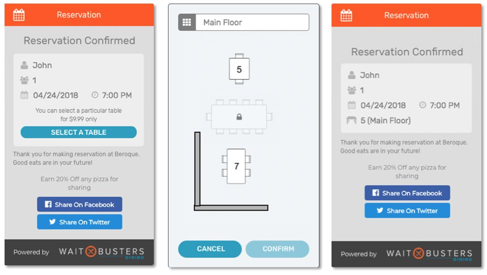 Select Your Table When Making Reservations Through Digital Diner