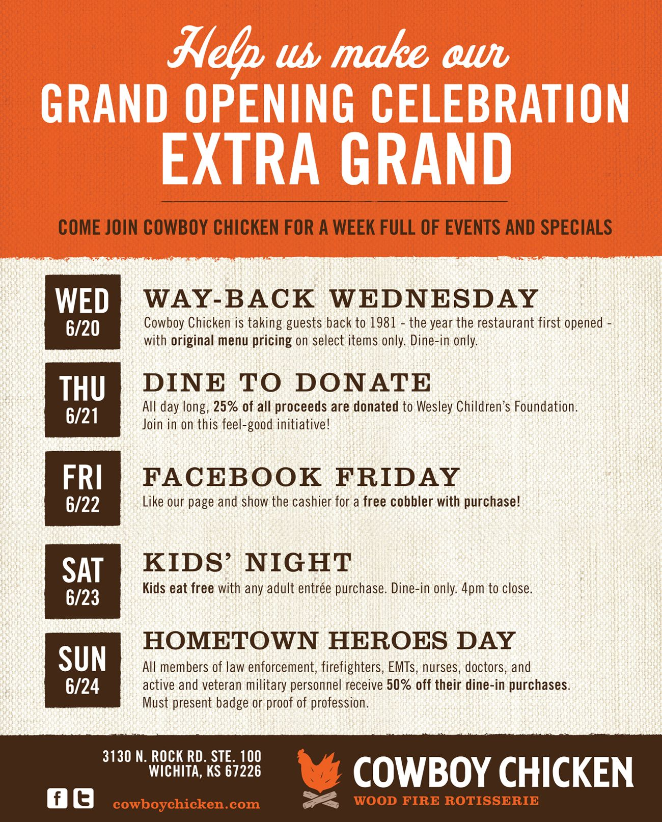 Cowboy Chicken Arrives in Wichita with Grand Opening Celebration June 20-24