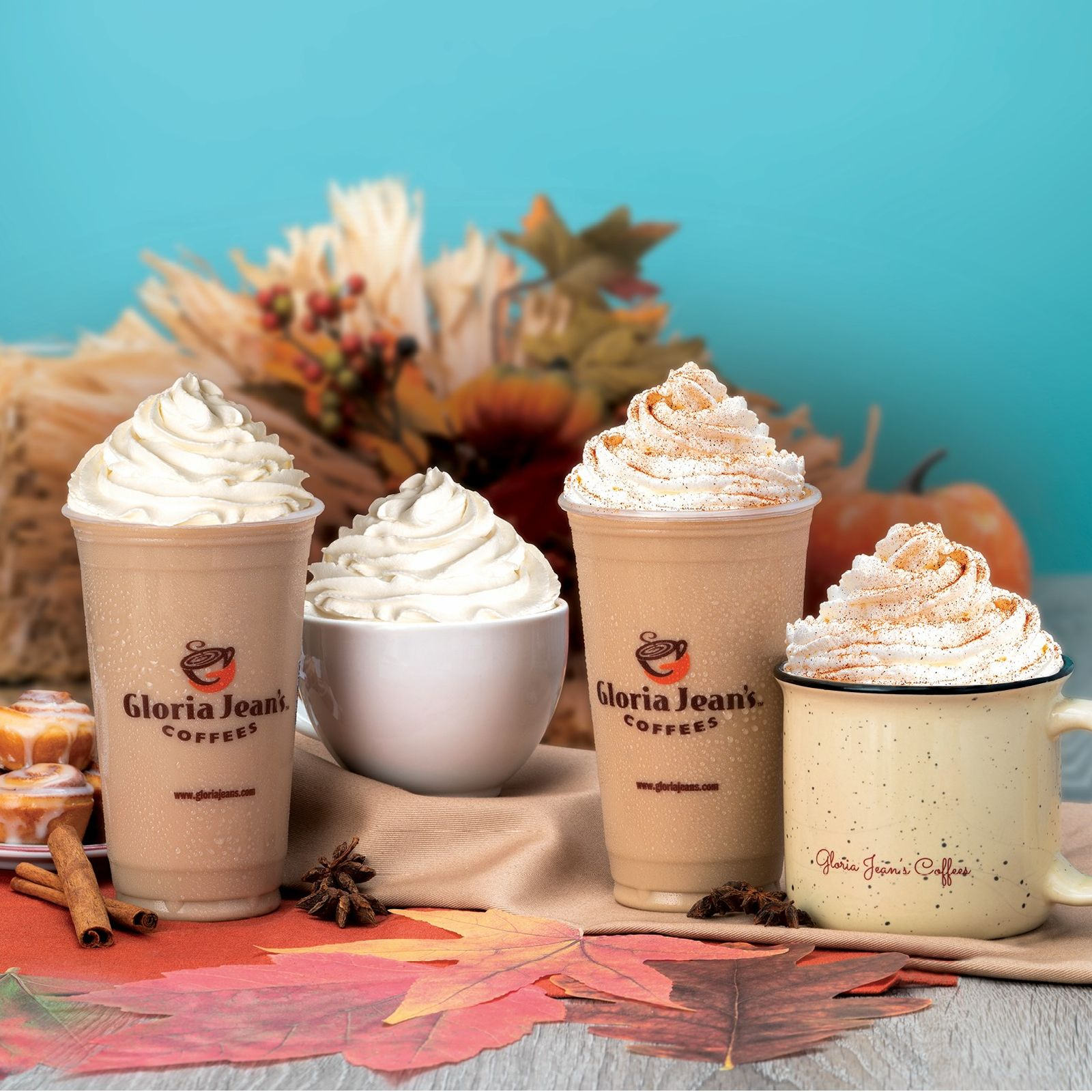 Gloria Jean's Coffees Fall Seasonal Cinnamon Bun and Pumpkin Spice Chiller & Lattes