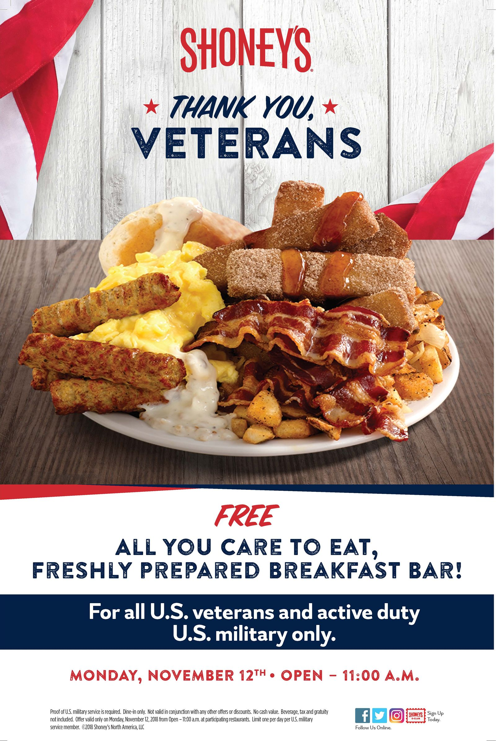 Shoney S Offers Free All You Care To Eat Freshly Prepared Breakfast Bar For Veterans And
