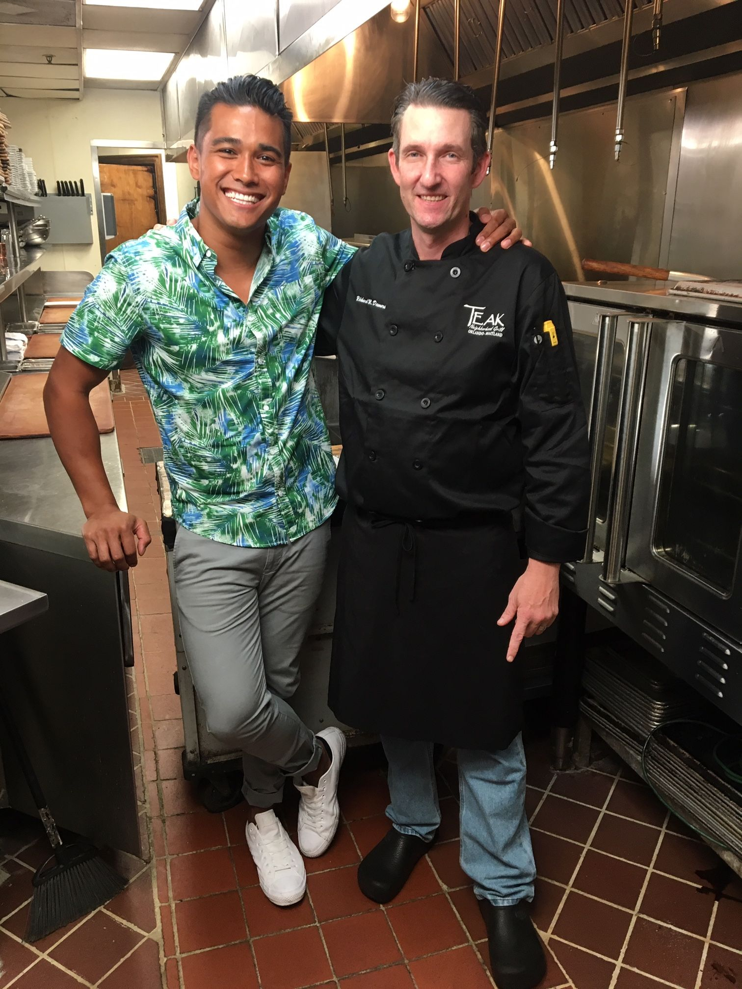 "Cooking Channel ""Late Night Eats"" Host Jordan Andino with Teak Neighborhood Grill Executive Chef Ricky Demers"
