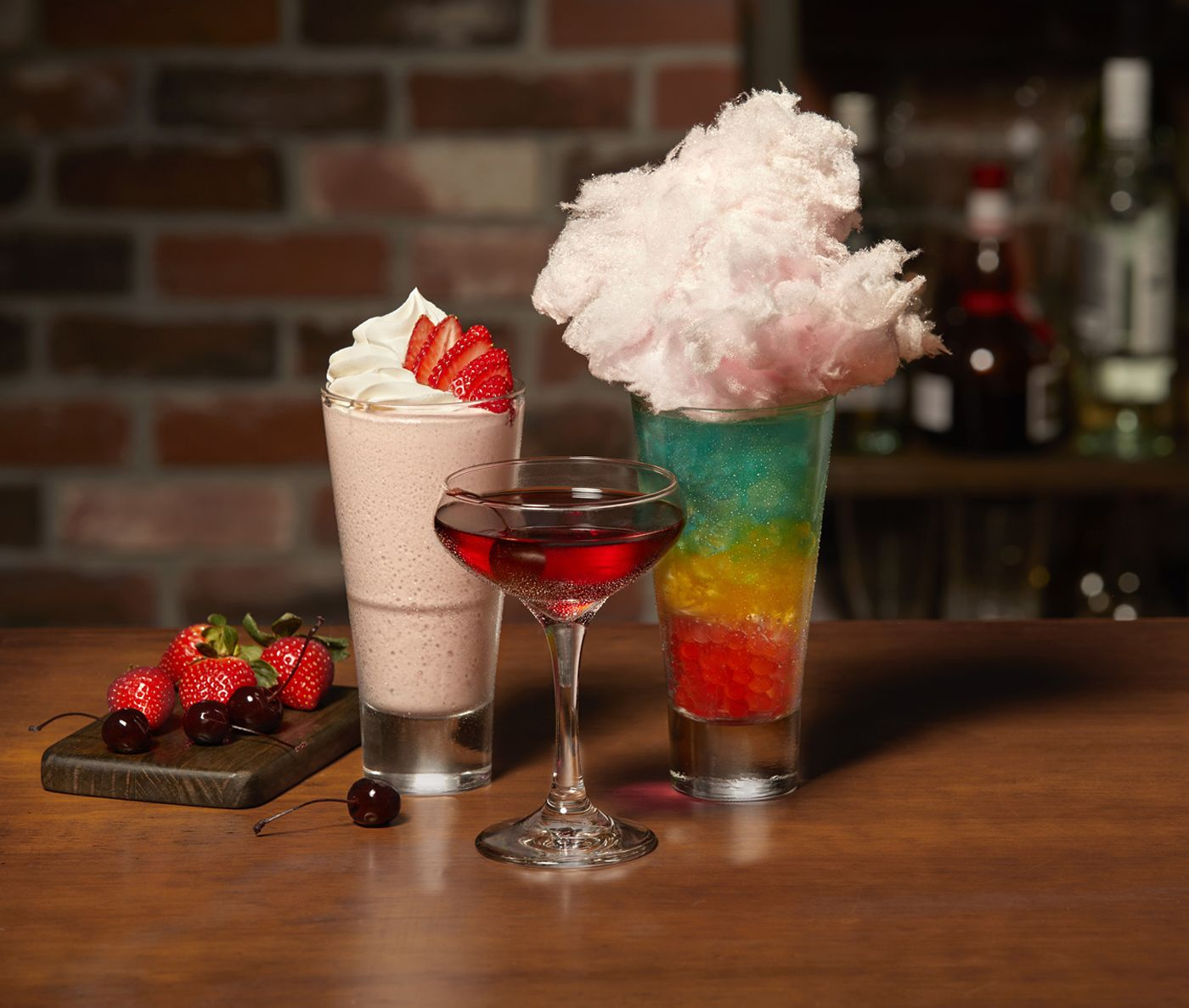 TGI Fridays Handcrafted Drinks: Strawberry Shortcake, Bordeaux Cherry Manhattan, Electric Unicorn
