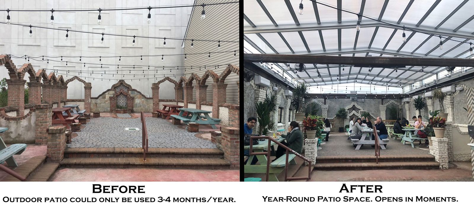 Retractable Glass Roof by Roll-A-Cover Expands Tacoria's Patio Business