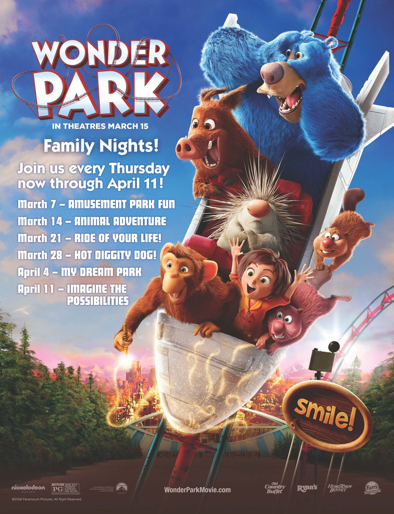 Paramount Animation and Nickelodeon Movies' Wonder Park Brings a Sense of Wonder to Family Night at Ovation Brands and Furr's Fresh Buffet Starting March 7th